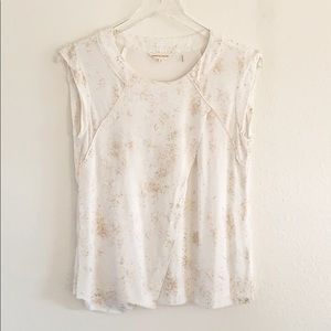Rebecca Taylor Cross Front Speckled Pink Gold Top